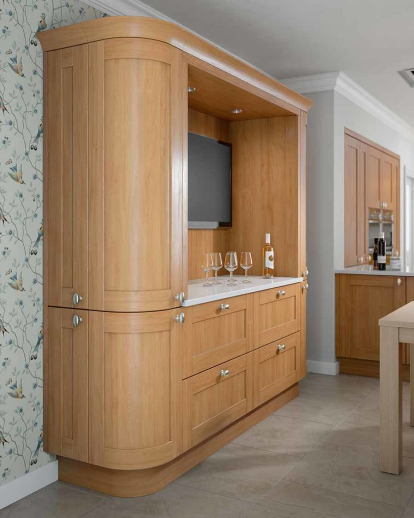 Sherbourne-Natural-Oak replacement kitchen doors on tall curved cabinets