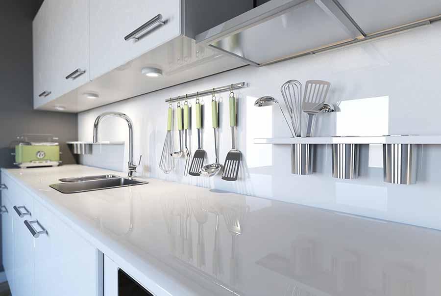 white gloss worktop in modern kitchen
