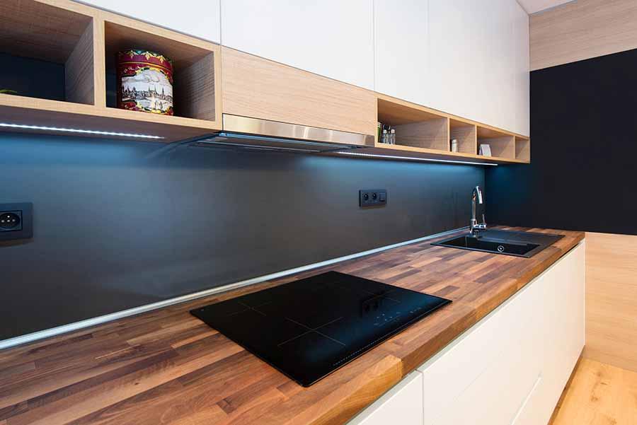 wooden kitchen worksurface in new kitchen